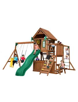 Knights Bridge Ultimate Wood Complete Swing Set With Wood Roof And Monkey Bars by Swing N Slide Playsets