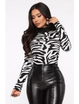 Zebra For You Sweater   White/Black by Fashion Nova