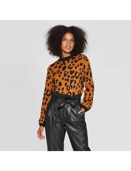 Women's Leopard Print Crewneck Pullover Sweater   Who What Wear™ by Who What Wear
