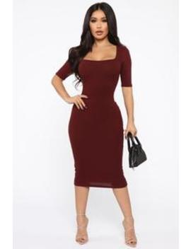A Little Bossy Midi Dress   Wine by Fashion Nova