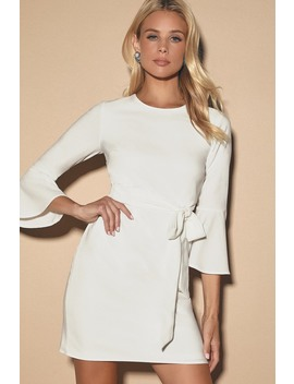 Last Love Song White Tie Waist Dress by Lulus