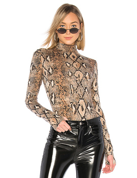 Kenzie Bodysuit In Tan Snakeskin by I.Am.Gia