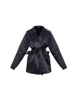 Black Satin Wrap Belt Blazer by Prettylittlething