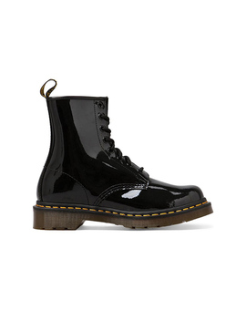 Modern Classic 8 Eye Boot In Black Patent by Dr. Martens
