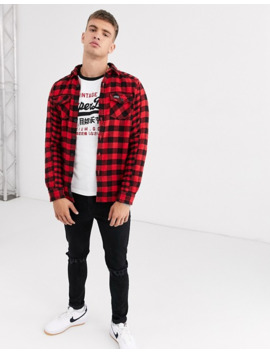 Superdry Buffalo Flannel Checked Flannel Shirt In Red by Superdry