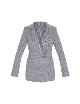 Dogtooth Pocket Front Double Breasted Blazer by Prettylittlething