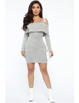 Fancy Feel Cold Shoulder Mini Dress   Heather Grey by Fashion Nova