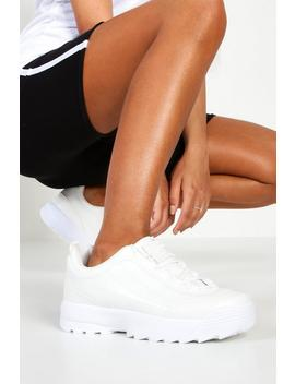 Chunky Lace Up Sneakers by Boohoo