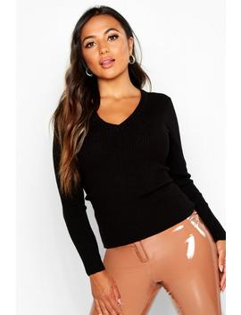 Petite Ribbed V Neck Jumper by Boohoo