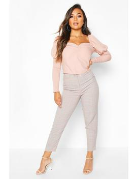 Petite Checked Tapered Trousers by Boohoo