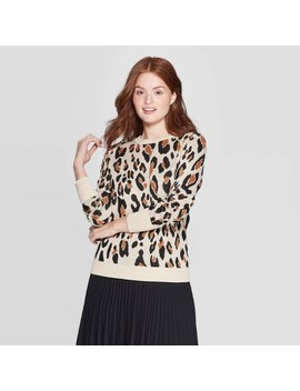 Women's Leopard Print Long Sleeve Rib Knit Cuff Crewneck Pullover Sweater   A New Day™ Cream by A New Day