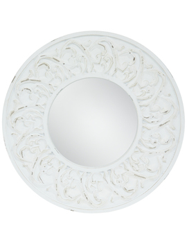 Distressed White Carved Round Wall Mirror by Hobby Lobby