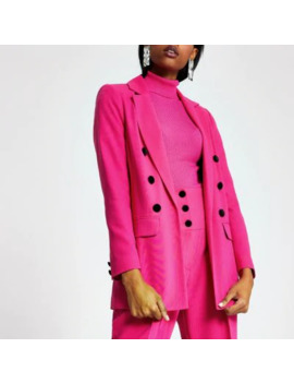 Pink Velvet Button Blazer    Pink High Corset Waist Cigarette Trousers by River Island