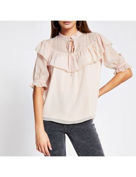 Pink Ruffle Short Sleeve Sheer Blouse by River Island