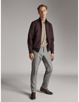 Slim Fit Heathered Oxford Chinos by Massimo Dutti