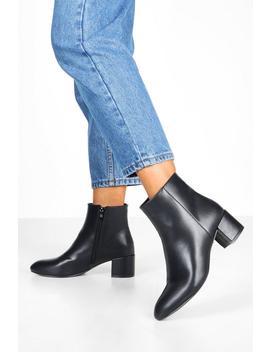 Basic Block Heel Shoe Boots by Boohoo