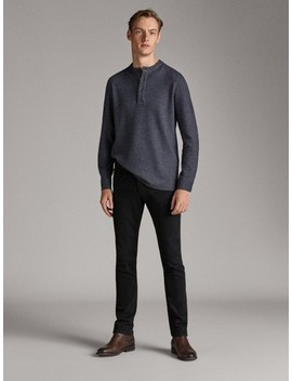 Long Sleeve Cotton Polo Shirt With A Stand Up Collar by Massimo Dutti