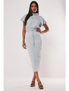 Grey Drawstring Midi Skirt by Missguided