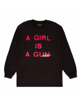 A Girl Is A Gun Black L/S Long Sleeve Tee T Shirt by Pleasures  ×