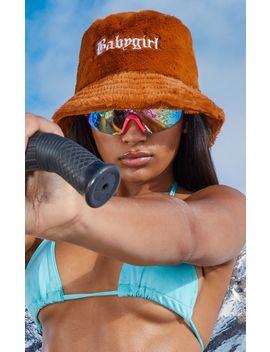 Tan Babygirl Slogan Faux Fur Bucket Hat by Prettylittlething