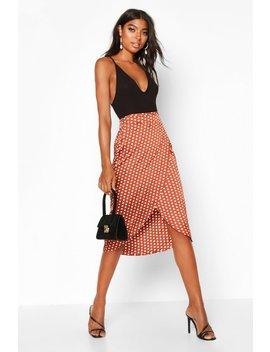 Tall Satin Polka Dot Print Wrap Skirt by Boohoo