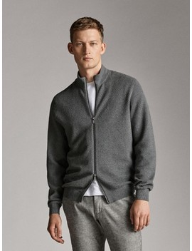Zip Up Cotton Cashmere Cardigan by Massimo Dutti