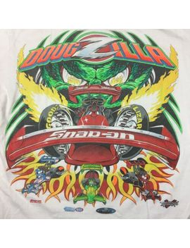 Vintage Snap On Racing Doug Zilla White T Shirt Men's Large Retro Drag Strip by Fruit Of The Loom