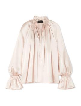 Arizona 系带细节缩褶真丝查米尤斯绸缎女衫 by Nili Lotan