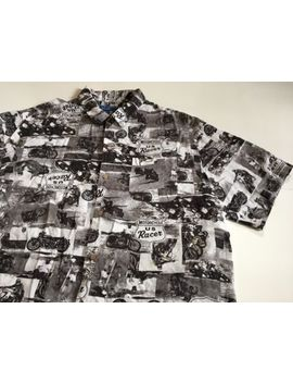 Puritan Men's Xl Black White Motorcycle Racing Short Sleeve Shirt 100% Rayon by Puritan