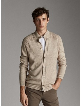 Cotton And Wool Cardigan With Buttons by Massimo Dutti