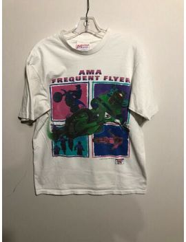 Vintage Pro Ama Racing Frequent Flyer Graphic White T Shirt L Made In Usa 90s by Preferred Sportswear
