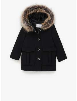 Snap Button Duffel Coat With Faux Fur Trim by Zara