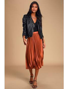 Fashionable Babe Rust Brown Satin Pleated Midi Skirt by Lulus
