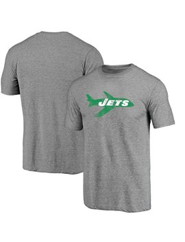 New York Jets Nfl Pro Line Throwback Logo Tri Blend Short Sleeve T Shirt   Gray by Nfl Pro Line By Fanatics Branded