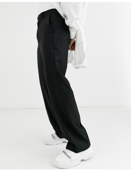 Asos Design – Weitgeschnittene, Elegante Hose Aus 100 Percents Wolle In Schwarz by Asos