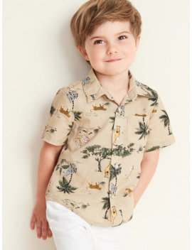 Safari Animal Print Linen Blend Shirt For Toddler Boys by Old Navy