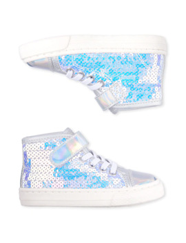 Toddler Girls Holographic Sequin Hi Top Sneakers by Children's Place
