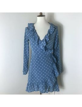 Realisation Par Alexandra Wrap Dress Size M Medium Blue Polka Dot *Flaw* by Réalisation Par
