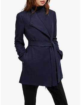 French Connection Wool Platform Felt Crossover Coat, Utility Blue by French Connection