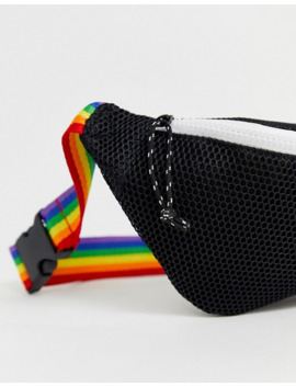 Asos Design Cross Body Fanny Pack In Black Mesh With Rainbow Strap by Asos Design