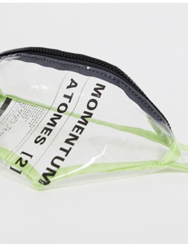 Asos Design Cross Body Fanny Pack In Transparent With Print And Neon Green Binding by Asos Design