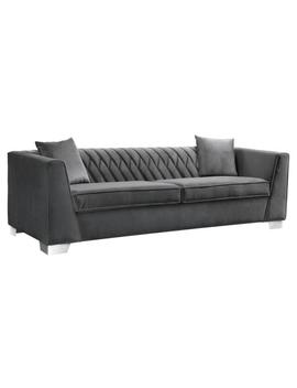 Armen Living Dark Grey Velvet Contemporary Sofa In Brushed Stainless Steel by Cambridge