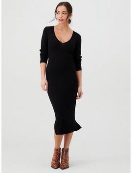 Skinny Rib V Neck Knitted Midi Dress   Black by V By Very