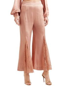 Run To You Lace Paneled Satin Flared Pants by Alice Mc Call