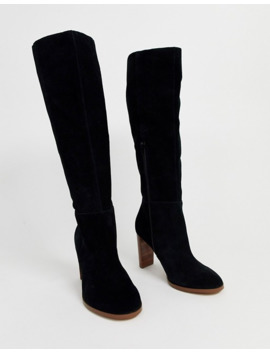 Asos Design Wide Fit Clover Premium Suede Knee High Boots In Black by Asos Design