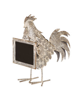 "Whitewashed Metal Rooster With Chalkboard, 12.6""Whitewashed Metal Rooster With Chalkboard, 12.6"" by At Home"