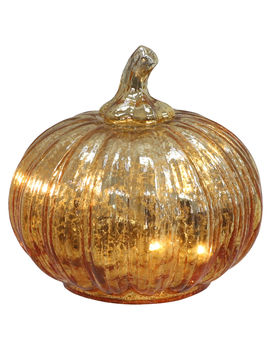 "Gold Glass Pumpkin, 4.5""Gold Glass Pumpkin, 4.5"" by At Home"