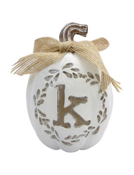 "White Resin Pumpkin With Monogram Letter ""K"", 4""White Resin Pumpkin With Monogram Letter ""K"", 4"" by At Home"