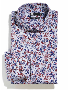 Dotted Floral Spiral Shirt Modern Fit by Le 31