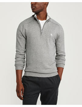 Icon Cotton Cashmere Quarter Zip Sweater by Abercrombie & Fitch